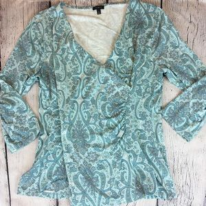 Talbot's Casual Cross over Blouse Sea Green